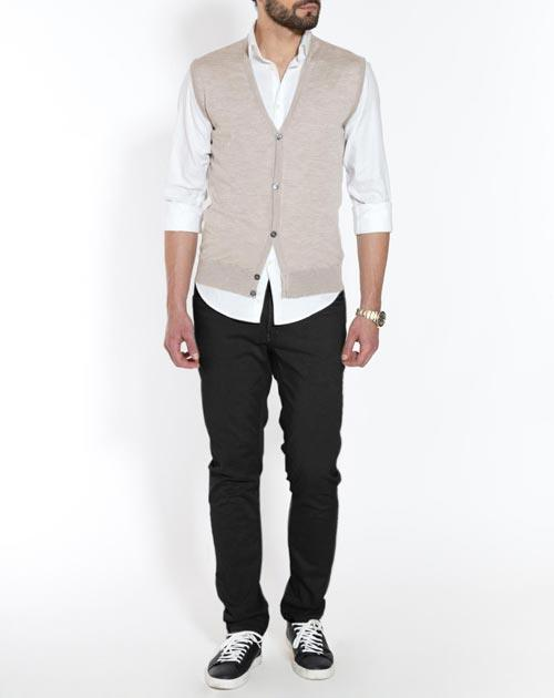 Men's Silk Cashmere Cardigan Vest