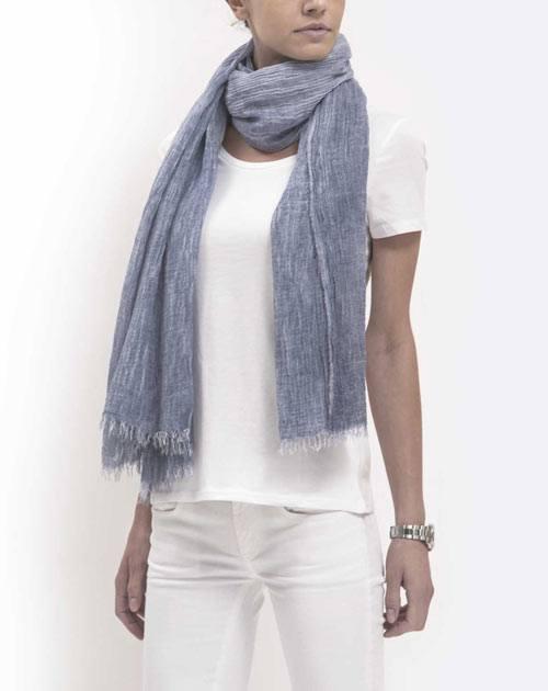 Batik Pashmina - Marineblau