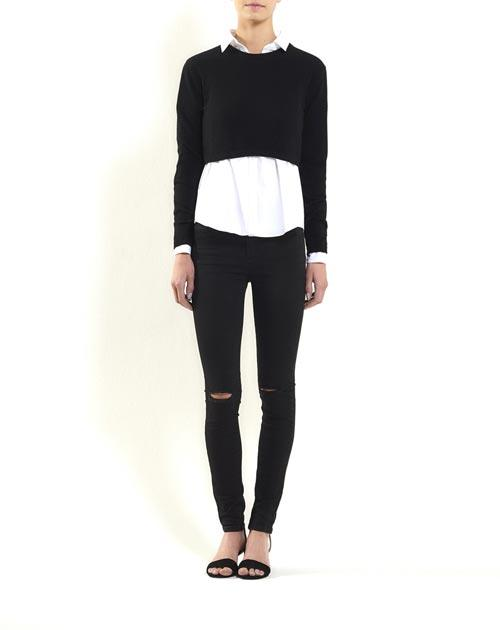 Pure Cashmere Crop Crew Neck Sweater