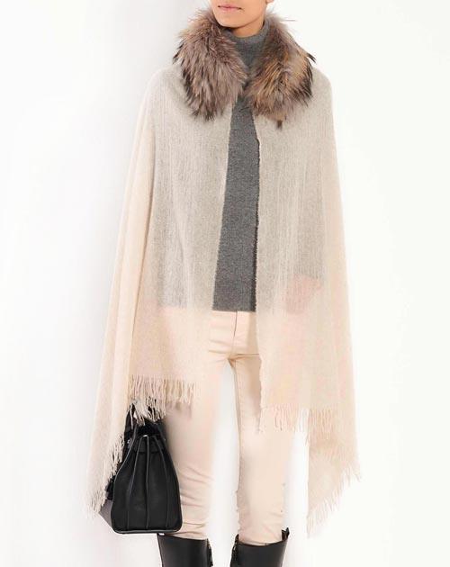 Fur Trimmed Pure Cashmere Stole