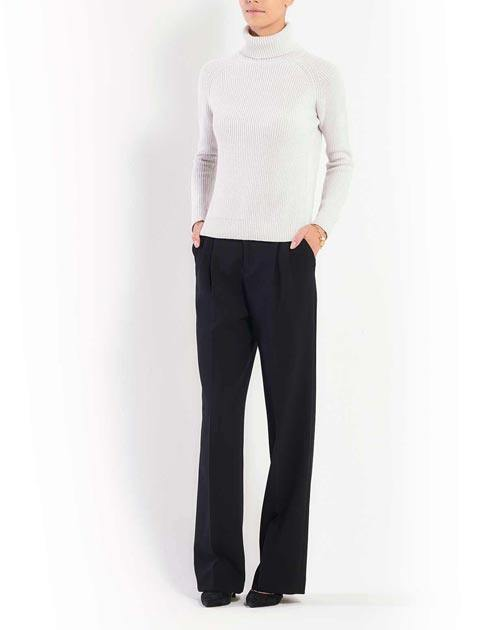 Ladies' Cashmere Brioche Rib Polo Neck