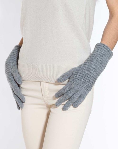 Pure Cashmere Long Ribbed Gloves