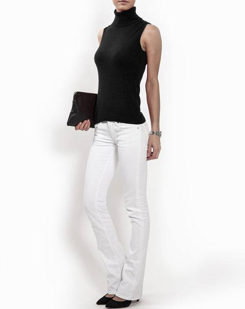 Ladies' Sleeveless Pure Cashmere Polo Neck