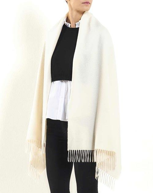 Women's Woven Pure Cashmere Stole with Fringes