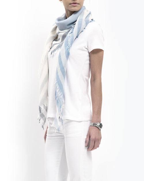 Halstuch mit Streifen für Damen - Himmelblau