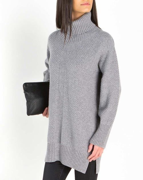 Women's Lambswool & Cashmere Maxi Turtleneck