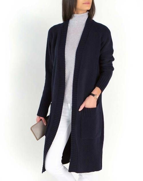 Women's Lambswool & Cashmere Long Knit Cardigan Coat