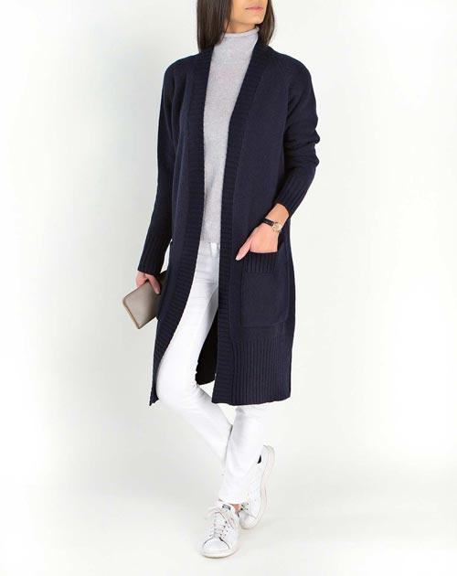 Ladies' Lambswool & Cashmere Long Knit Cardigan Coat