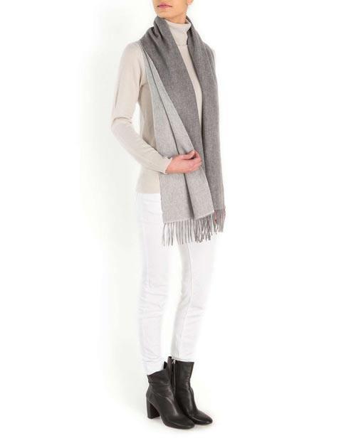 Ladies' Bicolor Woven Cashmere Scarf