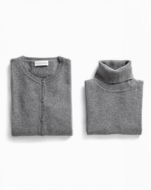 Women's Dark Grey Twinset - Cardigan & Turtleneck Vest