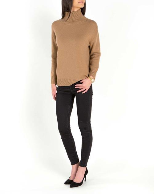 Ladies' Lambswool & Cashmere Funnel Neck Jumper