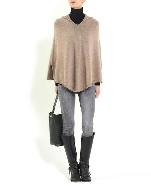 Pure Cashmere Hoodie Poncho