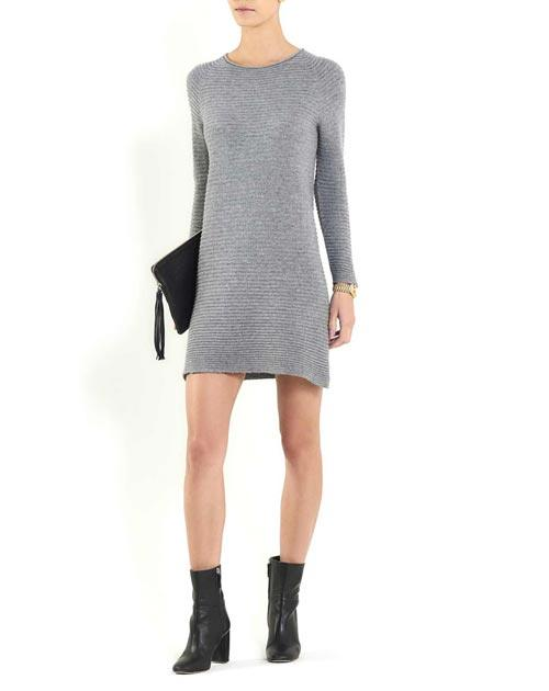 Women's Cashmere Horizontal Rib Boat Neck Dress