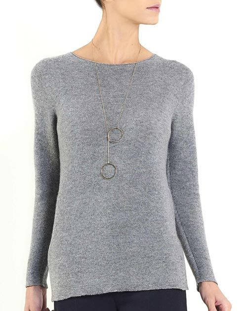 Women's Cashmere Links Stitch Boat Neck