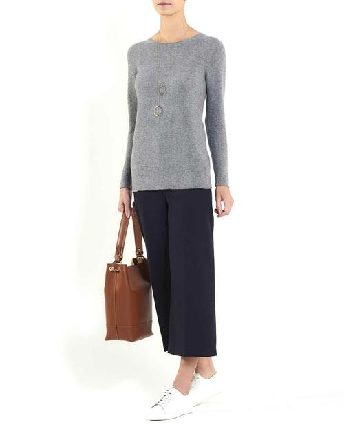 Ladies' Cashmere Links Stitch Crew Neck