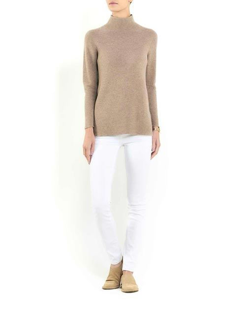 Women's Cashmere Links Stitch Funnel Neck