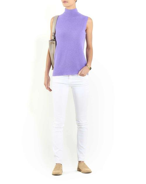 Ladies' Cashmere Links Stitch Sleeveless Funnel Neck