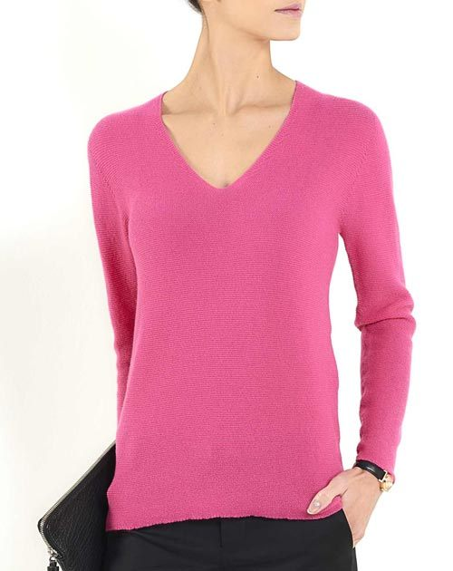 Women's Pure Cashmere Links Stitch V-Neck