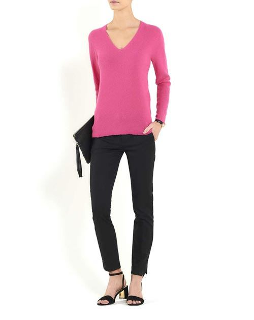 Ladies' Cashmere Links Stitch V-Neck