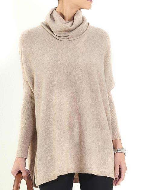 Ladies' Pure Cashmere Maxi Cowl Neck