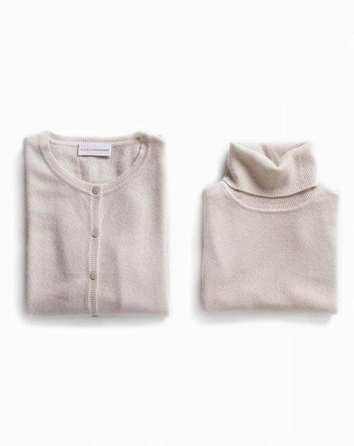 Ladies' Powder Twinset - Cardigan & Sleeveless Polo Neck