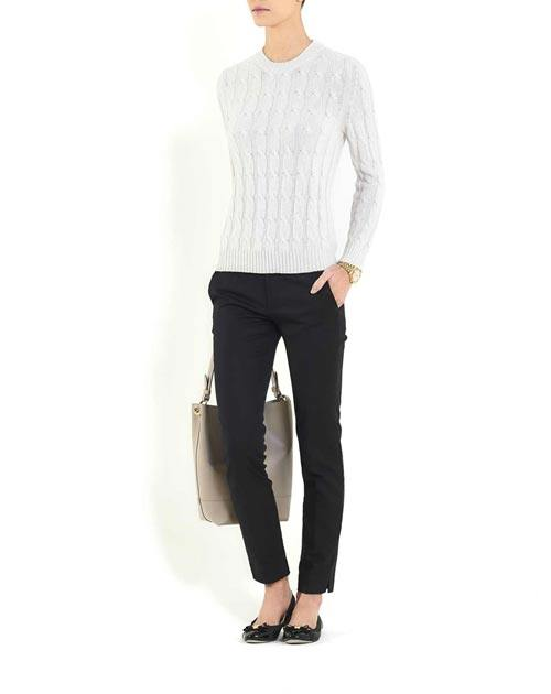 Ladies' Cashmere Cable Knit Crew Neck