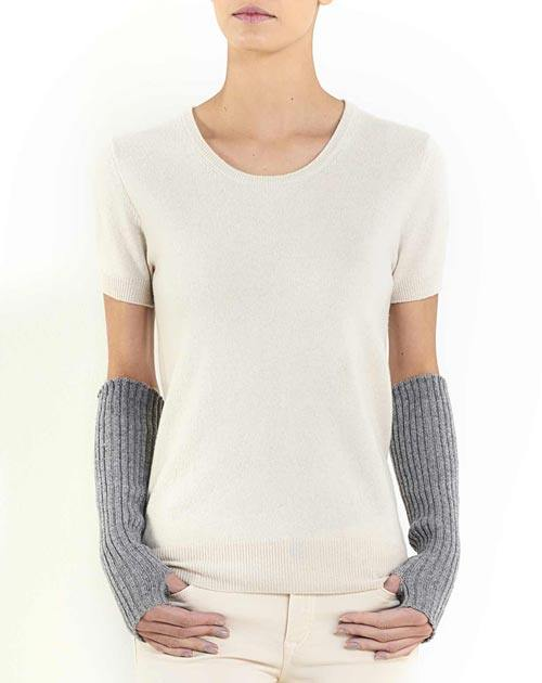 Cashmere Ribbed Fingerless Gloves