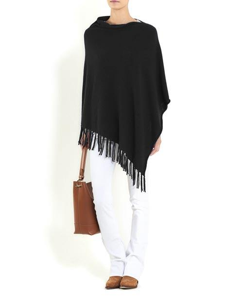 Ladies' Pure Cashmere Poncho with Fringes