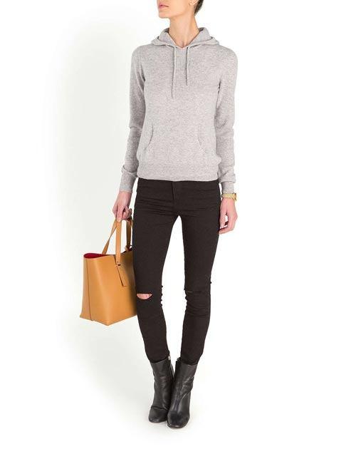 Ladies' Pure Cashmere Hoodie Sweatshirt