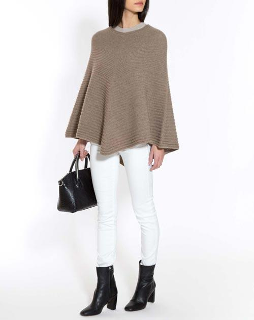 Pure Cashmere Ribbed Poncho