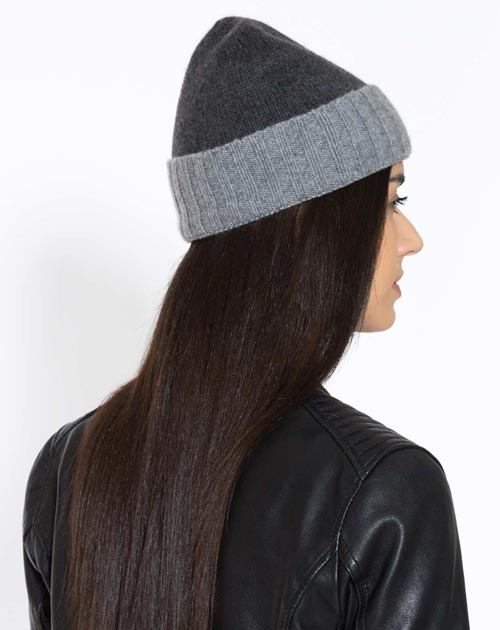 Ladies' Pure Cashmere Bicolour Cap