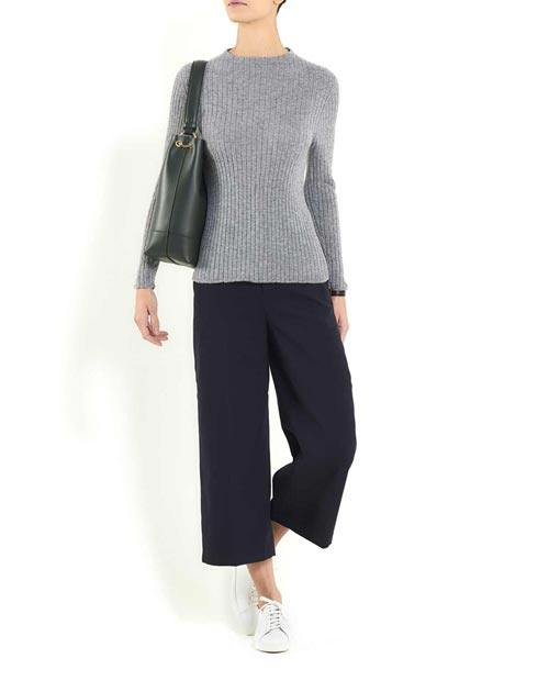 Ladies' Cashmere Vertical Rib Crew Neck Jumper