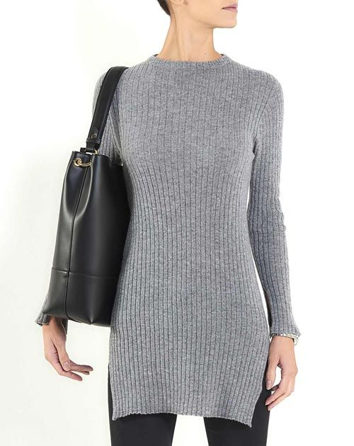 Ladies' Pure Cashmere Ribbed Tunic Dress
