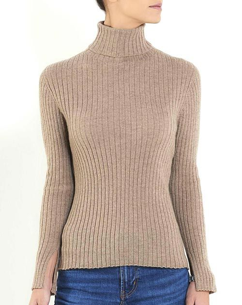 Ladies' Cashmere Vertical Rib Polo Neck Jumper