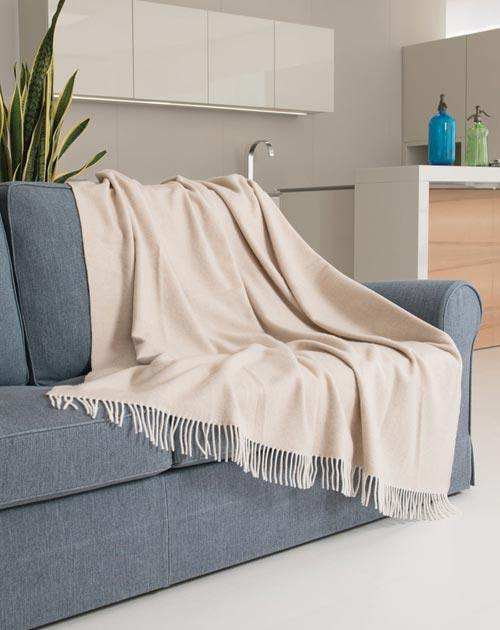 Cashmere-Merino Throw Blanket with Fringes