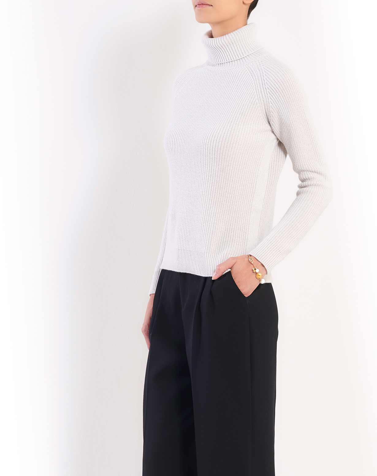 Ladies' Cashmere Fisherman Rib Polo Neck
