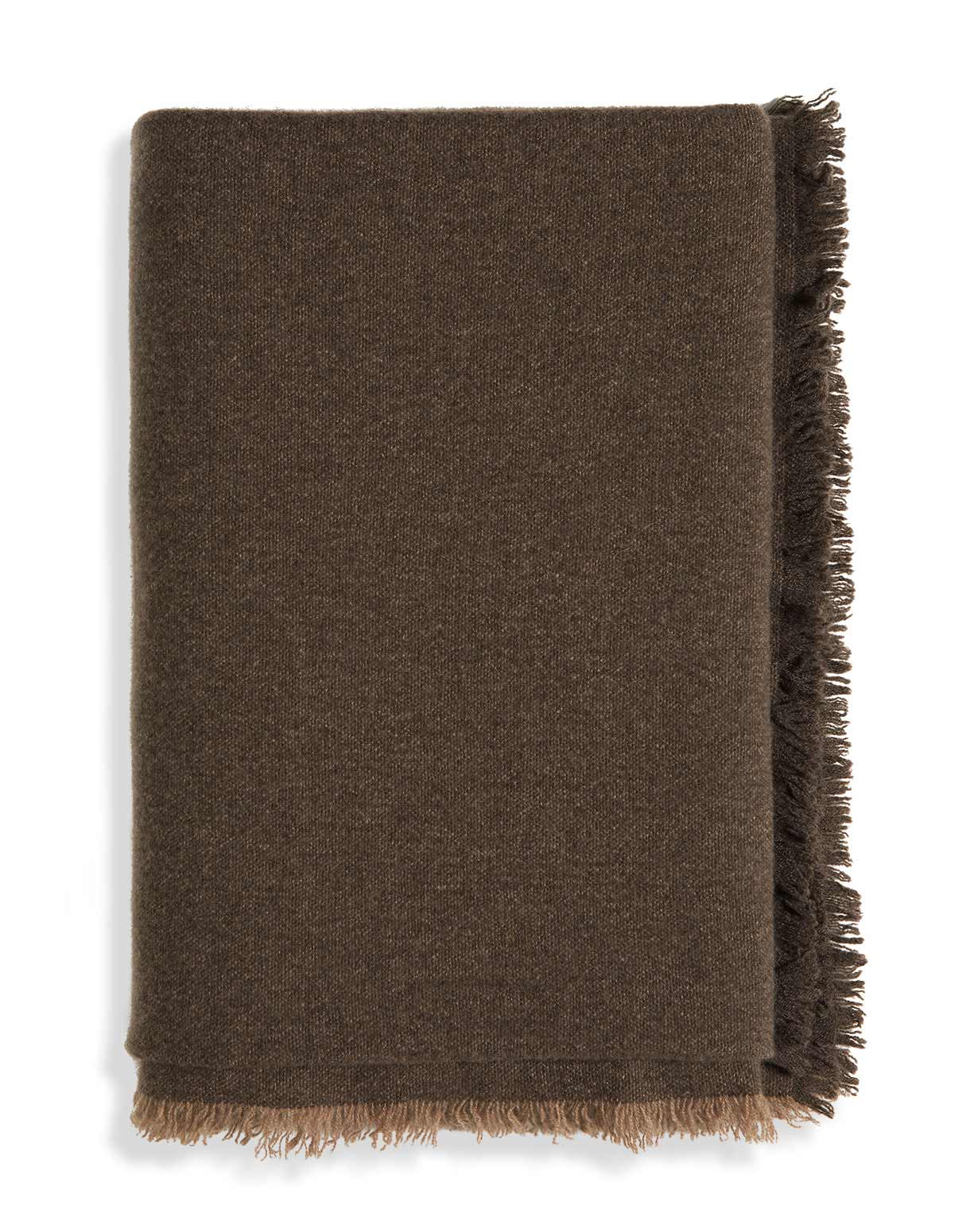 Light Cashmere Throw with Fringes