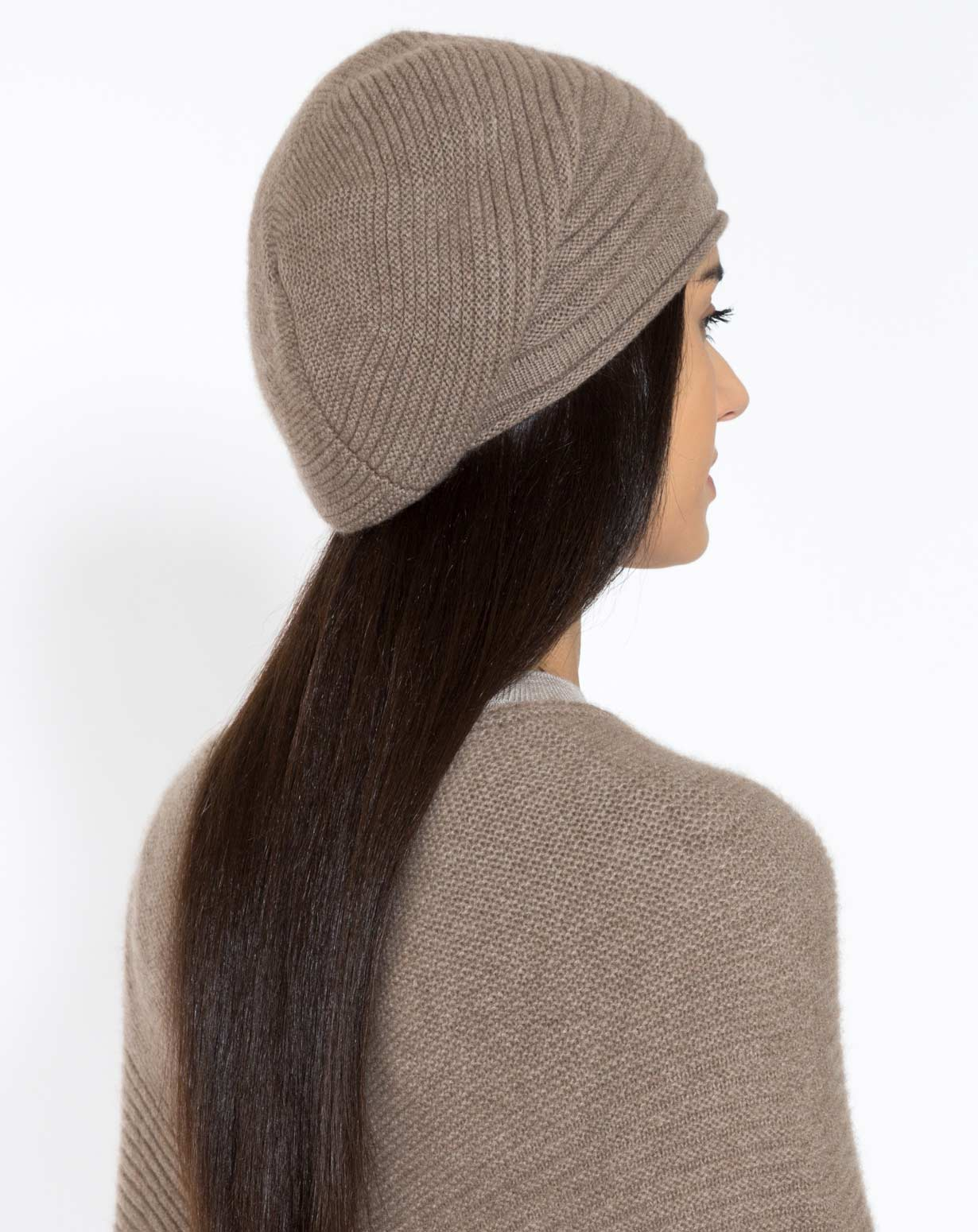Pure Cashmere Ribbed Beret
