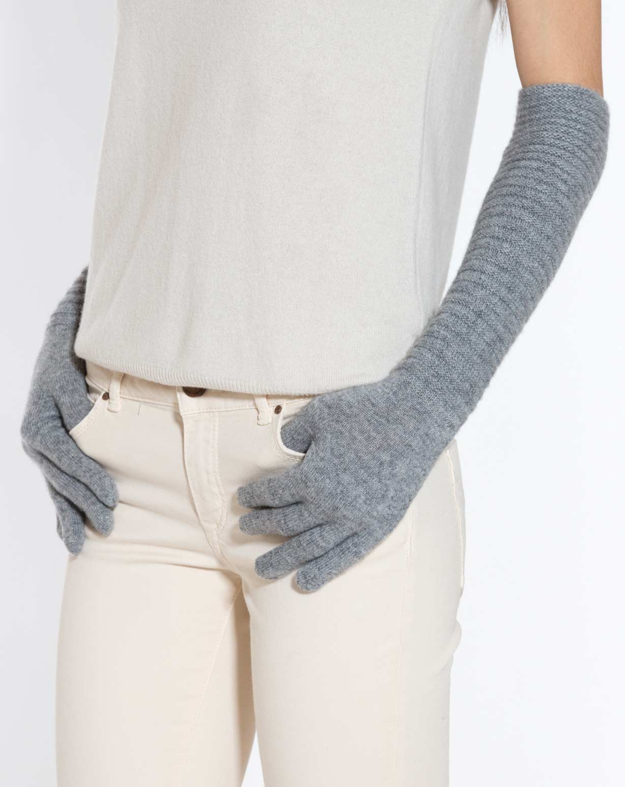 Long Pure Cashmere Ribbed Gloves