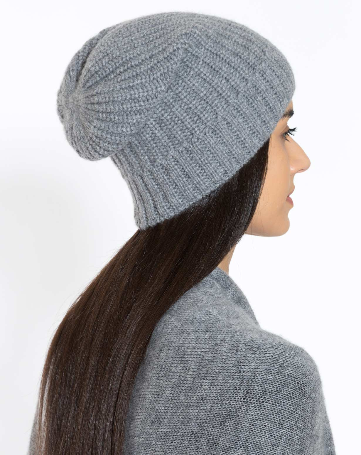 Pure Cashmere Fisherman's Rib Slouch Beanie