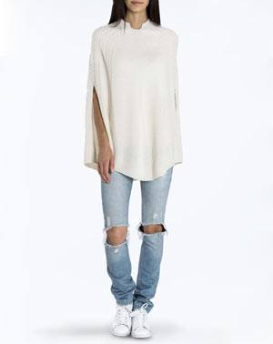 Ladies' Pure Cashmere Cable Knit Poncho