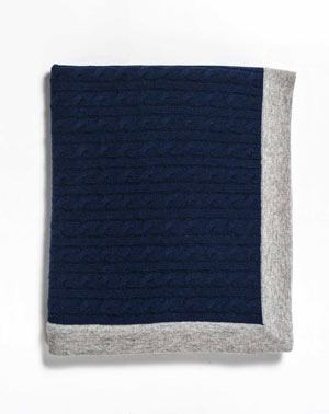 Cable Knit Cashmere Throw Blanket