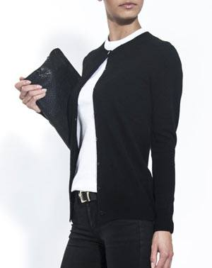 Ladies' Black Twinset - Cardigan & Sleeveless Polo Neck