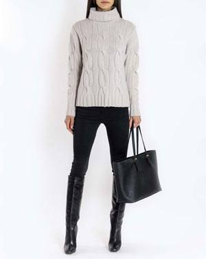 Ladies' Pure Cashmere Cable Knit Polo Neck Jumper