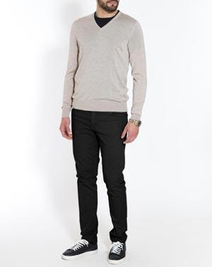 Herren V-Ausschnitt Pullover aus Kaschmir-Seide-Mix