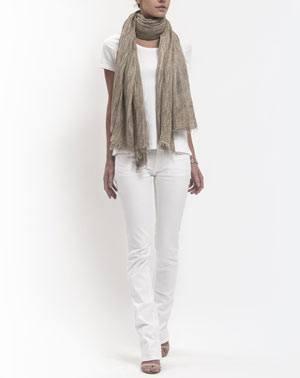 Batik Pashmina - Haselnuss
