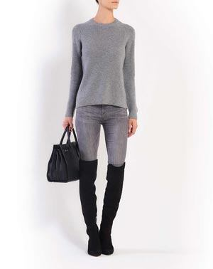 Ladies' Cashmere Brioche Rib Crew Neck
