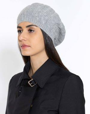 Women's Pure Cashmere Cable Knit Beret