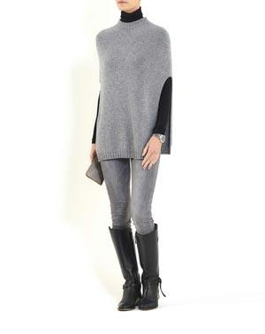 Pure Cashmere Side Slit Poncho