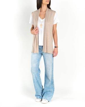 Ladies' Pure Cashmere Sleeveless Cardigan